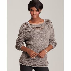 Vince Taupe Loose Knit Boatneck Sweater